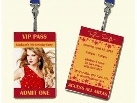 Taylor Swift VIP Passes Badge Birthday Party Invitation 02 - Custom - Digital file, Printable