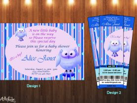 Owl Baby Shower Invitation 04 - It's a boy - Digital File - Printable