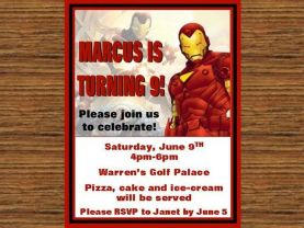 Iron Man Invitations #4 - Digital Invitation file - You print OR we can
