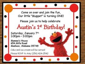 Custom Elmo Invitations #2 - Digital Invitation file - You print OR we can