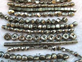 bulk pyrite  beads ,iron gold  rice square coin oval cross drop column donut assortment gemstone jewelry beads