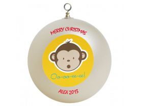 Mod Monkey Personalized Custom Christmas Ornament