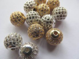 AAA grade pave metal spacer &cubic zirconia crysatl  silver gold mixed jewelry beads 12mm 3pcs