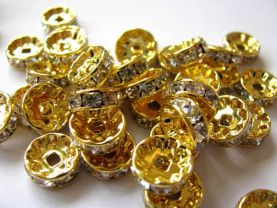 top quality 8mm 100pcs crystal rhinestone rondelle spacer beads gold  charm bead