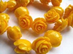 fashion 25mm full strand  resin flower cab rose carved florial oranger yellow  assortment  handmade craft supplies