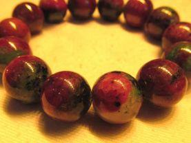 high quality  16mm genuine ruby zoisite epidote  gemstone round ball handmade jewelry bead bracelet  8inch/L