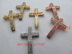 AAA grade  15X35mm 12pcs  pave metal spacer &cubic zirconia crystal cross curve silver rose gold mixed jewelry beads pendant