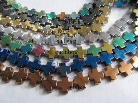 5strands 10x10mm wholesale  hematite beads cross assortment connector bead