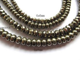 genuine pyrite  beads 4x6mm ,high quality  iron gold abacus& faceted gemstone jewelry beads --5strands 500pcs