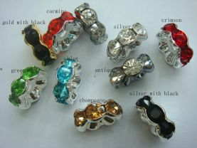 wholesale  rondelle spacer silver tone with red purple green blue pink rose black multicolor crystal rhinestone jewelry finding 8mm 500pcs