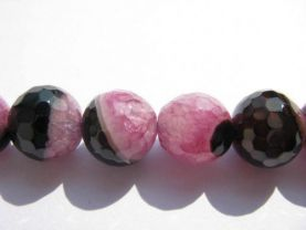 gergous agate  gemstone  round ball faceted rose fuchsia red black mixed  crystal jewelry beads 12mm --5strands 16inch