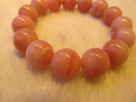 free ship--13-14mm 8inch high quality Genuine Peru Pink Opal gemstone round ball Stretch Bracelet beads