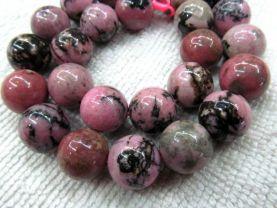 wholesale  genuine rhodonite  gemstone 14mm 5strands 16inch strand ,high quality round ball pink black jewelry beads