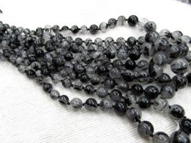 high quality  batch necklace genuine black rutilated quartz round ball gemstone bead 6-14mm  --5strands 16inch strand