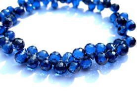 high quality 5.5x7mm 64pcs cubic zirconia gemstone apricot drop onion faceted  sapphire blue jewelry beads