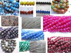 batch fire agate gemstone  round ball faceted green blue red purple assortment jewelry  beads 6mm--15strands 16inch/per strand
