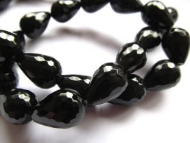 high quality 10x14mm-15x20mm 5strands natural agate gemstone  drop onion teadrop faceted black jet jewelry beads