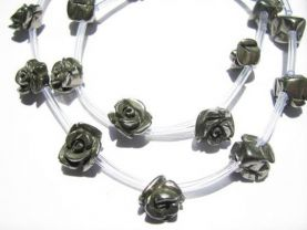 genuine pyrite  beads 8mm,  high quality  flowers florial petal rose carved iron gold iron  beads -- full strand  25pcs