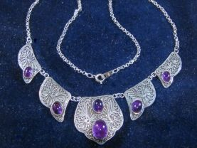 Silver Filigree Necklace with Amethysts. Cat# 0148