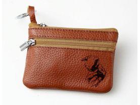 Digimon Agumon Leather Zippered Coin Bag Key Pouch