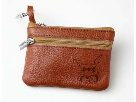 Digimon Guilmon  Leather Zippered Coin Bag Key Pouch