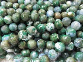 wholesale gergous fire agate  gemstone  round ball faceted dark green assortment jewelry beads 10mm --5strands 16inch