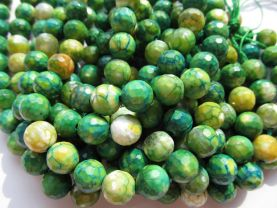 high quality gergous agate  gemstone  round ball faceted cracked  green olive yellow jewelry beads 12mm --5strands 16inch