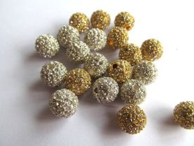 12mm 150pcs,high quality  bling ball ,metal & czech rhinestone spacer round siler gold mixed  jewelry beads--by express ship