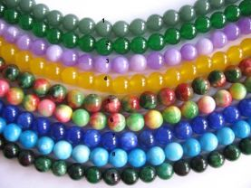 wholesale 8mm 5strands 16inch,round ball pink red green purple blue white black mixed jade gemstone  jewelry beads