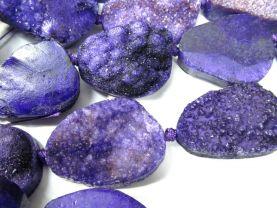 2strands 30-50mm Druzy Agate Nugget Stone purple multicolor jewelry pendant bead