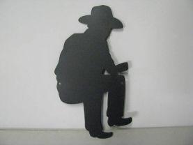 Cowboy Camp Fire 008 Metal Art Silhouette