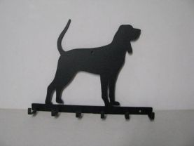 Black and Tan Coonhound Silhouette Key/Leash Holder Metal Wall Yard Art