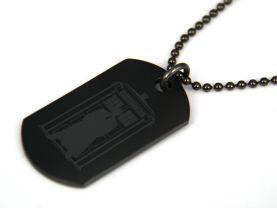 Doctor Who Tardis Black Dog Tag Necklace