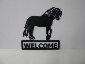 Draft Horse 005 Standing Welcome Sign Farm Silhouette