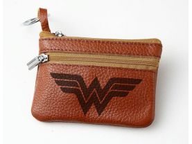 Wonder Woman Leather Zippered Coin Bag Key Pouch
