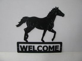 Thoroughbred 006 Walking Welcome Sign Farm Silhouette