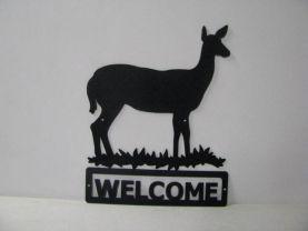 Deer Doe 003 Welcome Sign Silhouette