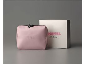 pink soft leather make up bag cosmetic with original box 13*14cm(thick 4cm)