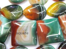 high quality   genuine agate gemstone squaredelle box green red veins assortment jewelry beads focal 40mm full strand