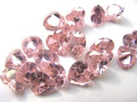 wholesale cubic zirconia gemstone heart love faceted pink assortment  jewelry beads cabochons  6mm 100pcs