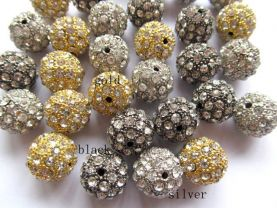wholesale bling ball tone spacer  round ball silver gold black  with  crystal rhinestone  jewelry beads 10mm 100pcs