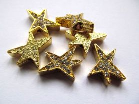 16mm 100pcs fashion star metal spacer &cyrstal rhinesone  ,black gold silver assortment jewelry beads