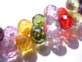 bulk cubic zirconia gemstone apricot drop onion faceted multicolor assortment  jewelry beads bracelet 5.5x7mm 64pcs