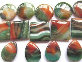 high quality  batch genuine agate gemstone square roundel coin teardrop drop green red veins jewelry beads focal 40mm 14pcs
