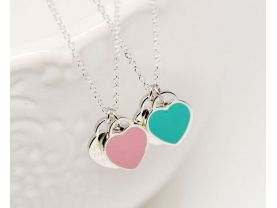 sterling silver t necklace in pink colors with original dustbag and green box