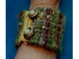 Multicolor Fuzzy Hand Woven Cuff Bracelet With Loop And Button Closure