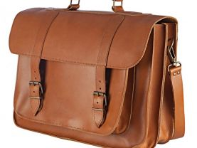 "Genuine Leather 17"" inch Laptop Mens Briefcase Messenger Bag Handmade Tobacco Color"