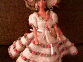 Knee Length Crocheted Dress, Hat, Purse Set For Barbie and Same Size Fashion Dolls