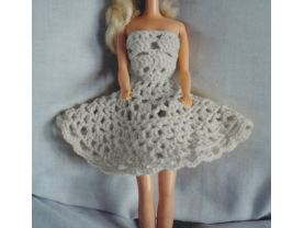 White Crocheted Barbie Strapless Party Dress Kit