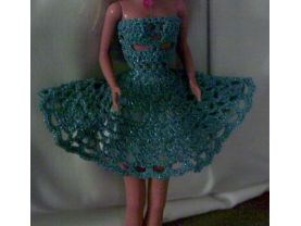 Crocheted Party Strapless Dress In Blue TInsel Thread For Barbie and Same Size Fashion Dolls